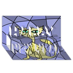 Artistic Cat   Yellow Happy New Year 3d Greeting Card (8x4) by Valentinaart