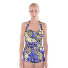 Artistic Cat   Blue Boyleg Halter Swimsuit  by Valentinaart