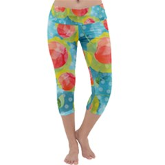 Red Cherries Capri Yoga Leggings