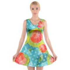 Red Cherries V Neck Sleeveless Dress