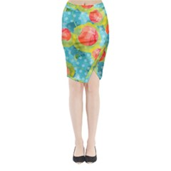Red Cherries Midi Wrap Pencil Skirt