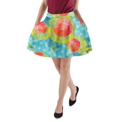 Red Cherries A Line Pocket Skirt