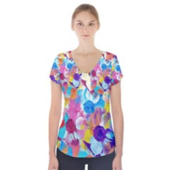 Anemones Short Sleeve Front Detail Top
