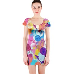 Anemones Short Sleeve Bodycon Dress