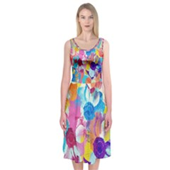 Anemones Midi Sleeveless Dress