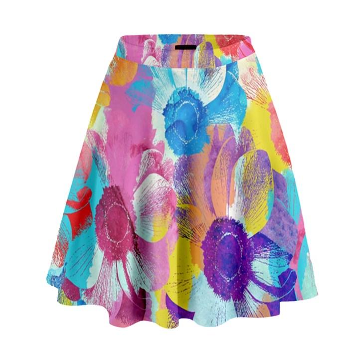 Anemones High Waist Skirt