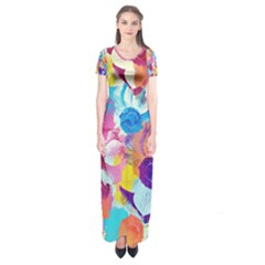 Anemones Short Sleeve Maxi Dress