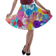 Anemones A Line Skater Skirt