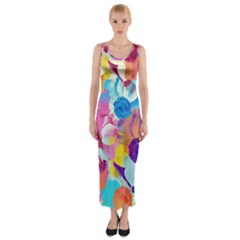 Anemones Fitted Maxi Dress