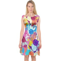 Anemones Capsleeve Midi Dress