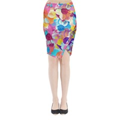 Anemones Midi Wrap Pencil Skirt