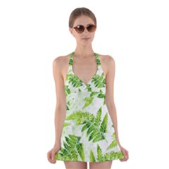 Fern Leaves Halter Swimsuit Dress by DanaeStudio
