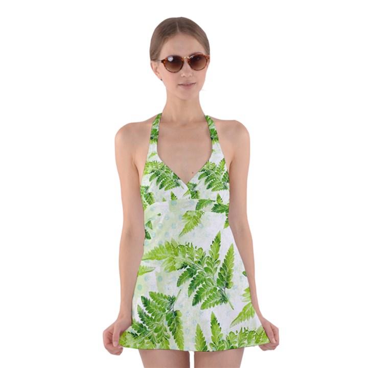 Fern Leaves Halter Swimsuit Dress