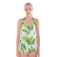 Fern Leaves Boyleg Halter Swimsuit