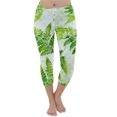 Fern Leaves Capri Winter Leggings