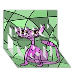 Artistic Cat   Purple Miss You 3d Greeting Card (7x5)