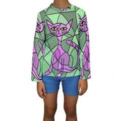 Artistic cat - purple Kid s Long Sleeve Swimwear by Valentinaart