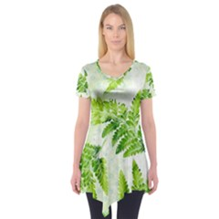 Fern Leaves Short Sleeve Tunic  by DanaeStudio