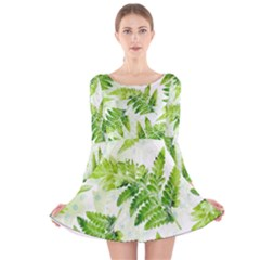 Fern Leaves Long Sleeve Velvet Skater Dress