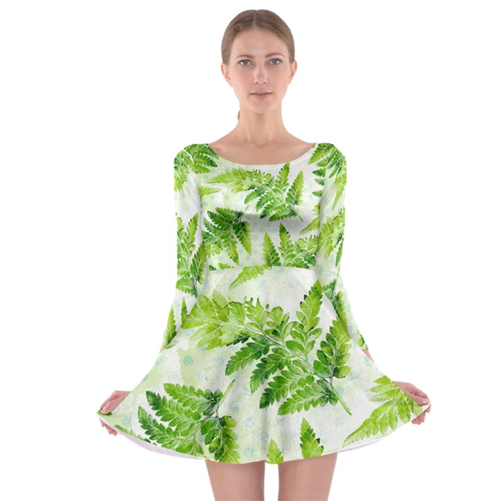 Fern Leaves Long Sleeve Skater Dress