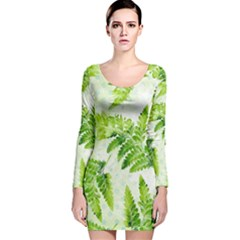 Fern Leaves Long Sleeve Velvet Bodycon Dress by DanaeStudio
