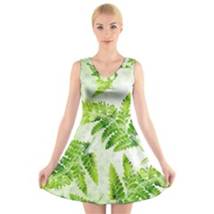 Fern Leaves V Neck Sleeveless Dress by DanaeStudio