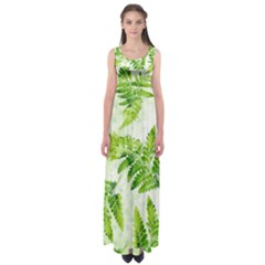 Fern Leaves Empire Waist Maxi Dress