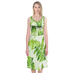 Fern Leaves Midi Sleeveless Dress
