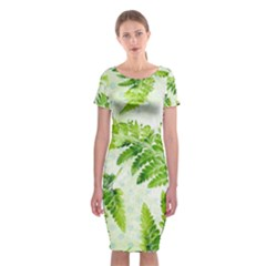 Fern Leaves Classic Short Sleeve Midi Dress by DanaeStudio