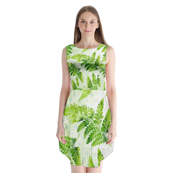 Fern Leaves Sleeveless Chiffon Dress