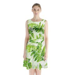 Fern Leaves Sleeveless Chiffon Waist Tie Dress