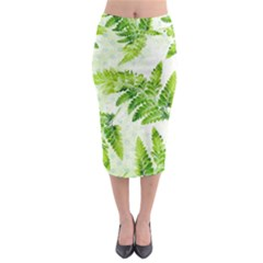 Fern Leaves Midi Pencil Skirt