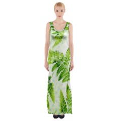 Fern Leaves Maxi Thigh Split Dress