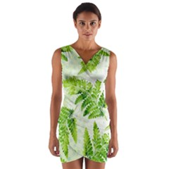 Fern Leaves Wrap Front Bodycon Dress