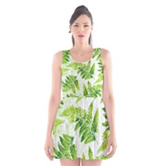 Fern Leaves Scoop Neck Skater Dress by DanaeStudio