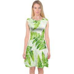 Fern Leaves Capsleeve Midi Dress