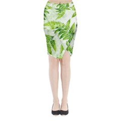Fern Leaves Midi Wrap Pencil Skirt