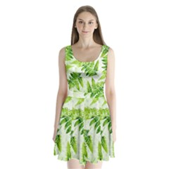 Fern Leaves Split Back Mini Dress