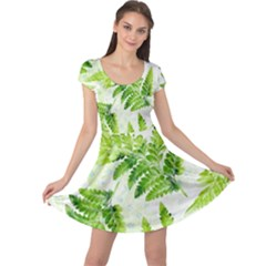 Fern Leaves Cap Sleeve Dress