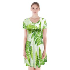 Fern Leaves Short Sleeve V Neck Flare Dress