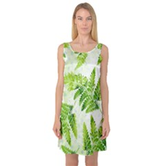 Fern Leaves Sleeveless Satin Nightdress