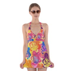 Pop Art Roses Halter Swimsuit Dress by DanaeStudio