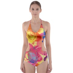 Pop Art Roses Cut Out One Piece Swimsuit