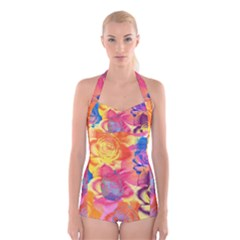 Pop Art Roses Boyleg Halter Swimsuit