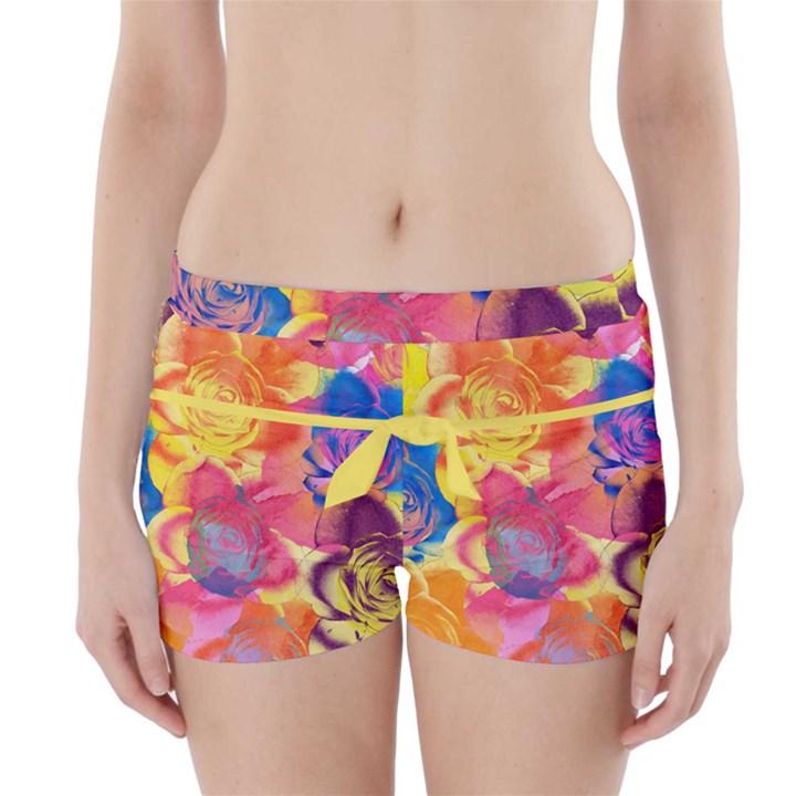 Pop Art Roses Boyleg Bikini Wrap Bottoms