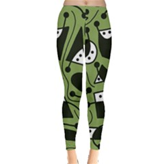 Playful Abstract Art   Green Leggings  by Valentinaart