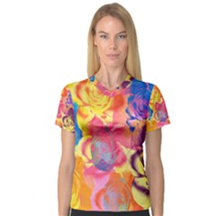 Pop Art Roses Women s V Neck Sport Mesh Tee