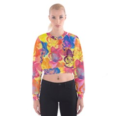 Pop Art Roses Women s Cropped Sweatshirt