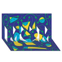Playful Abstract Art   Blue And Yellow Mom 3d Greeting Card (8x4) by Valentinaart