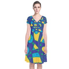 Playful Abstract Art   Blue And Yellow Short Sleeve Front Wrap Dress by Valentinaart